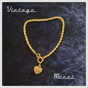 VTG Signed Monet Rhinestone Heart Charm Bracelet